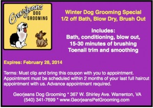 Georjeans Winter Special Dog Grooming Coupon